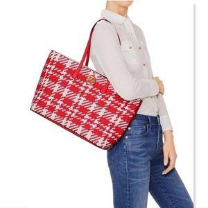 New TORY BURCH Red/White/Ivory Woven Leather Tote